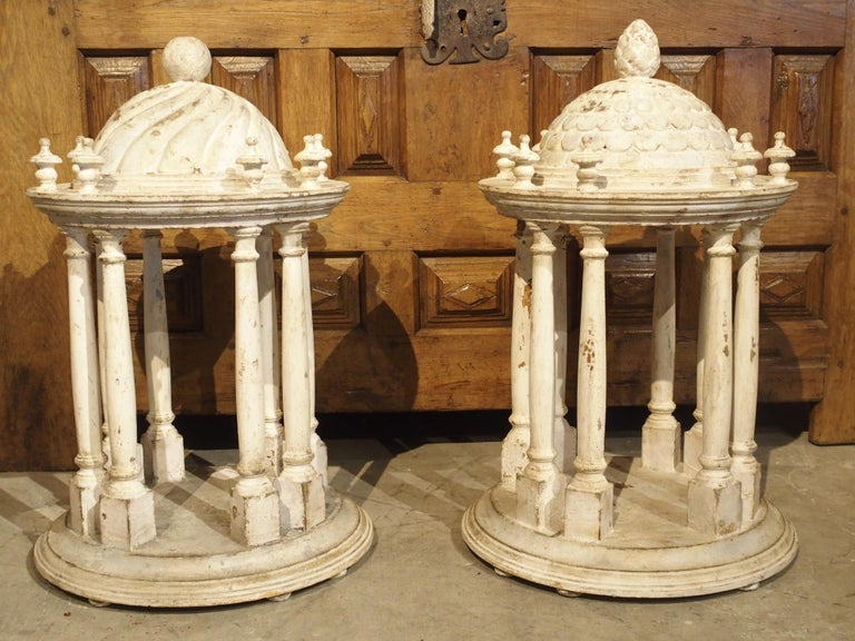 Italian Pair of Antique Carved and Painted Wooden Grand Tour Temple Models, 19th Century For Sale