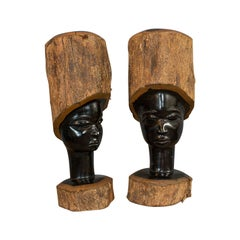 Pair of Antique Carved Heads, African, Ebony, Decorative Statue, Victorian
