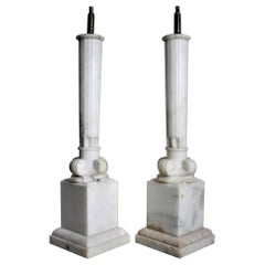 Pair of Antique Carved Alabaster Ionic Column Styled Table Lamp Bases