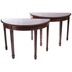 Pair of Antique Carved Mahogany Demilune Console Tables