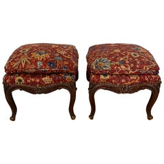 Pair of Antique Carved Mahogany Framed Benches