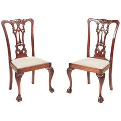 Pair of Antique Carved Mahogany Side Chairs