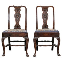 Pair of Antique Carved Oak Queen Anne Style Side Chairs