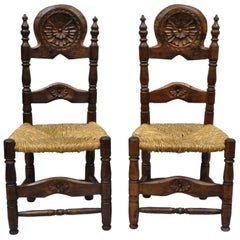 Pair of Antique Carved Pinewood Country French Rush Seat Ladder Back Side Chair