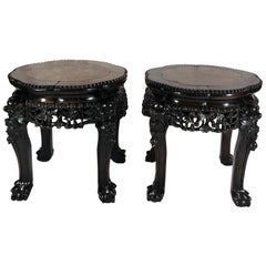 Pair of Antique Carved Teak Stands with Marble Tops