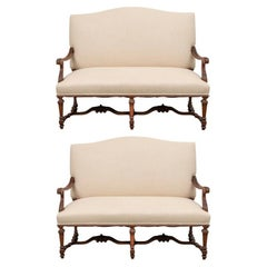 Pair of Antique Carved Walnut English Settees
