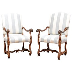 Pair of Antique Carved Walnut Hall Chairs