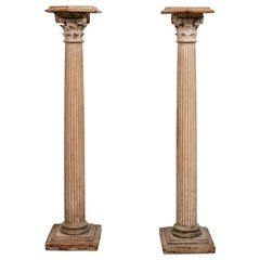 Pair of Antique Carved Wood Column Form Pedestals