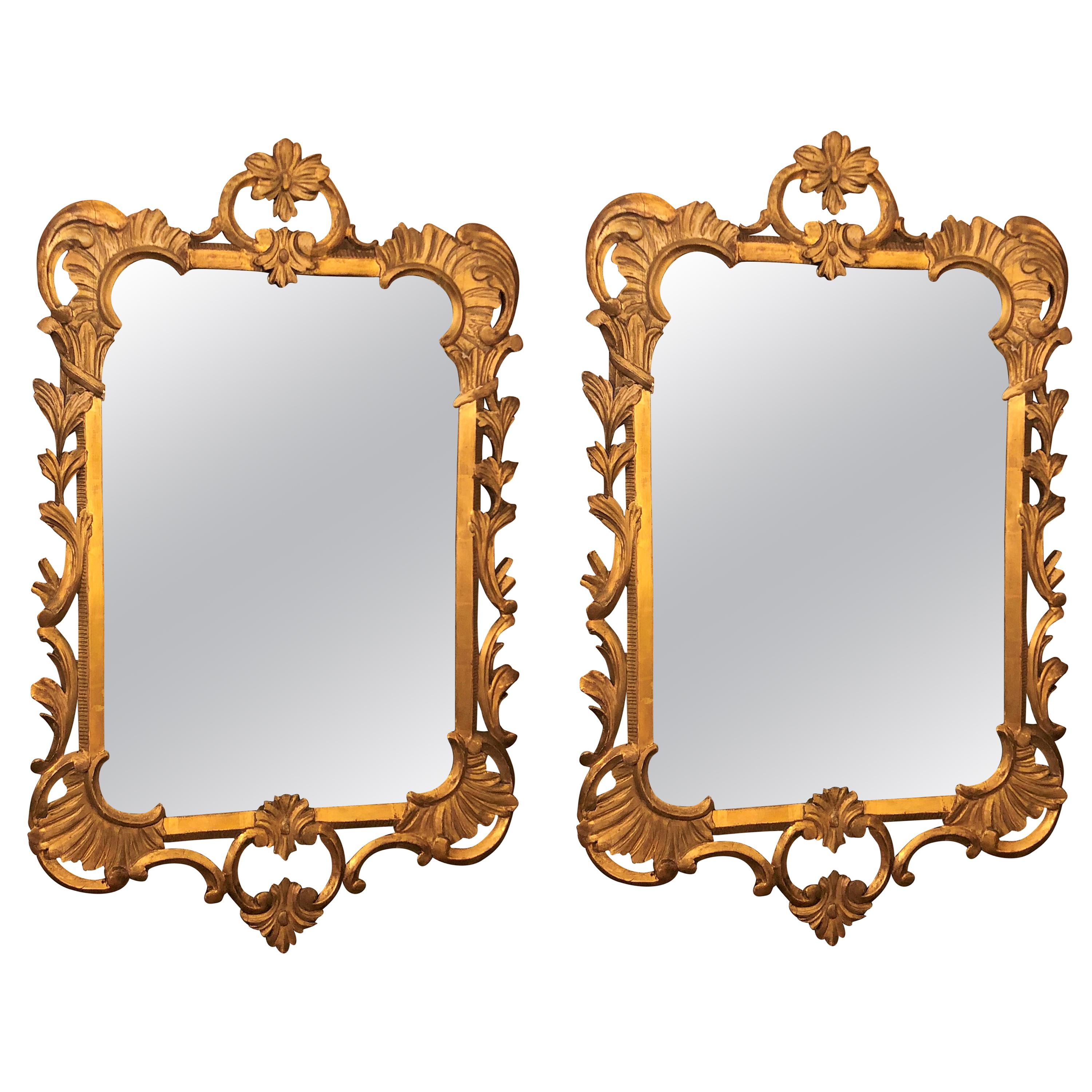 Pair of Antique Carved Wood Gilt Mirrors
