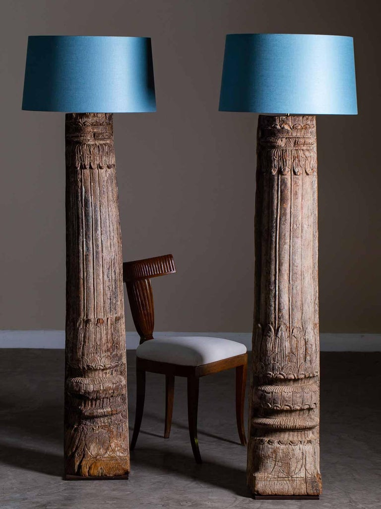 Pair of Antique Carved Wood Pillar Column Floor Lamps from ...