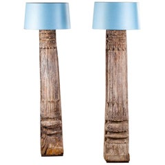 Pair of Antique Carved Wood Pillar Column Floor Lamps from Indonesia, circa 1890