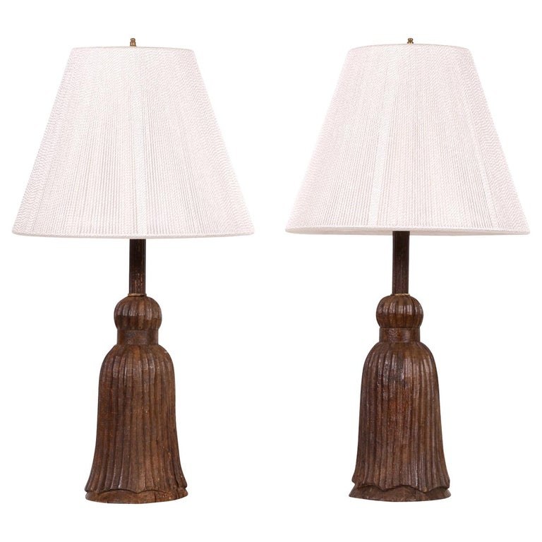 Pair of Antique Carved Wood Tassel Form Lamps For Sale