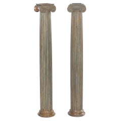 Pair of Antique Cast Bronze Columns Pillars, Early 20th Century