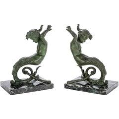 Pair of Antique Cast Bronze Putti Caryatid Figures