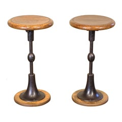 Pair of Antique Cast Iron and Oak Pedestal Stools