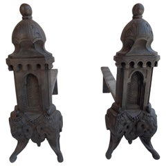 Pair of Antique Cast iron Andirons, Firedogs
