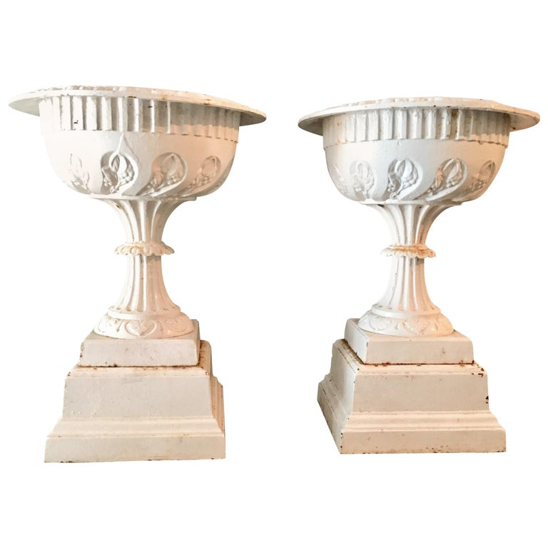 """Pair of Antique Cast Iron """"Berlin"""" Urns by M. D. Jones of Boston For Sale"""