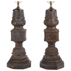 Pair of Antique Cast Iron Elements as Table Lamps