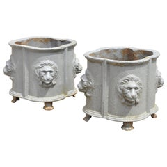 Pair of Antique Cast Iron French Empire Style Planter Pots with Lion Heads