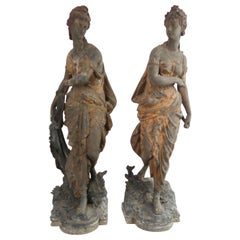Pair of Antique Cast Metal Neo-Classical Figures, English, Late 19th Century
