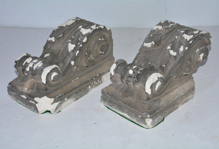 Pair of Antique Cast Plaster Corbels In Distressed Condition For Sale In Great Barrington, MA