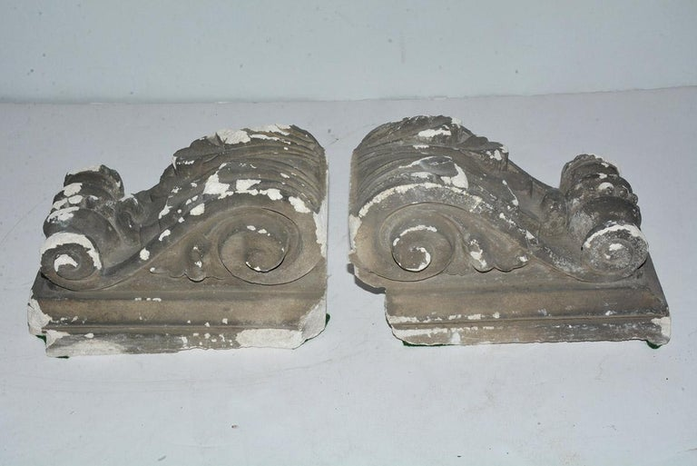 19th Century Pair of Antique Cast Plaster Corbels For Sale