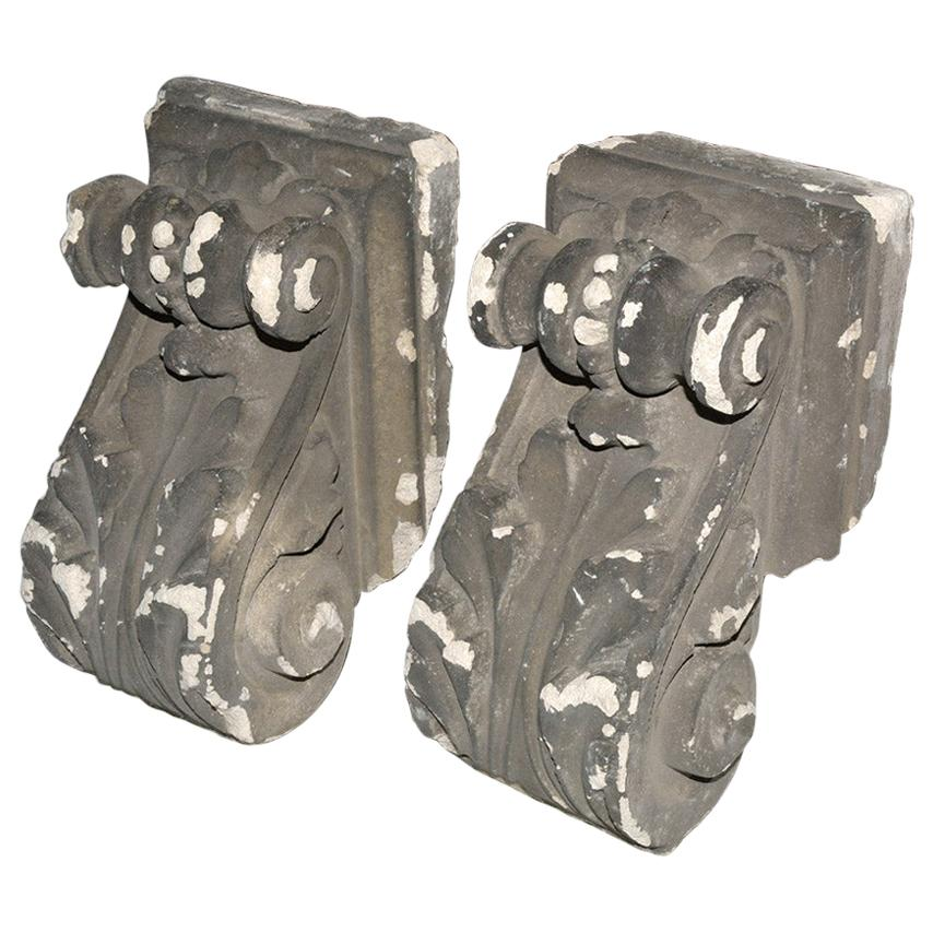 Pair of Antique Cast Plaster Corbels
