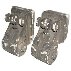 Pair of Antique Cast Plaster Corbels