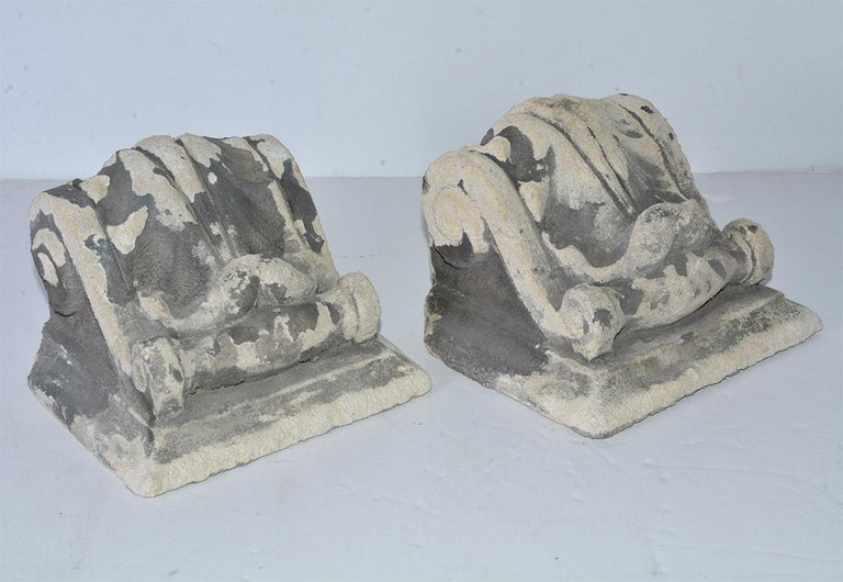 Classical Roman Pair of Antique Cast Stone Corbels For Sale