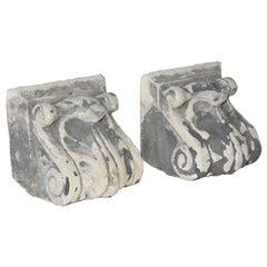 Pair of Antique Cast Stone Corbels