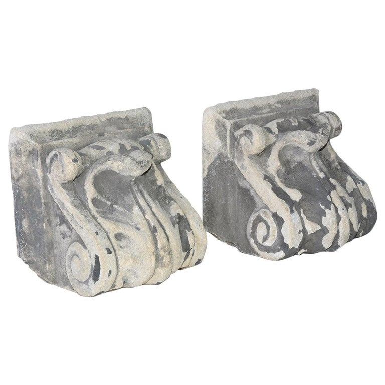 Pair of Antique Cast Stone Corbels For Sale
