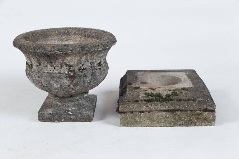 Pair of Antique Cast Stone Garden Urns on Bases, circa 1920 For Sale 5