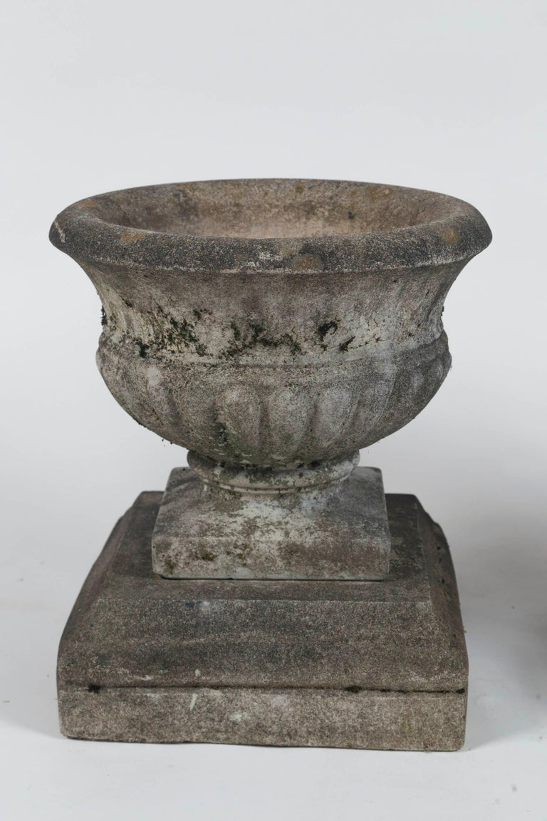 Pair of Antique Cast Stone Garden Urns on Bases, circa 1920 For Sale 3