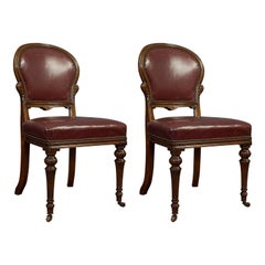 Pair of Antique Chairs, Walnut, Leather, Seat, Doveston, Bird & Hull, Victorian