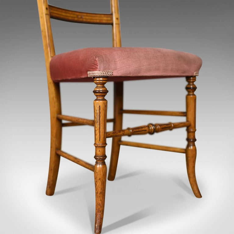 Pair of Antique Chairs, Upholstered, Victorian, English Walnut, Side, circa 1880 For Sale 2