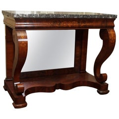 Pair of Antique Charles X Mahogany and Marble Consoles