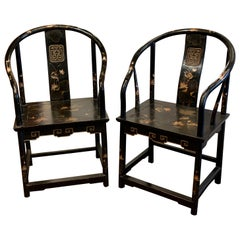 Pair of Antique Chinese Black Lacquer Armchairs