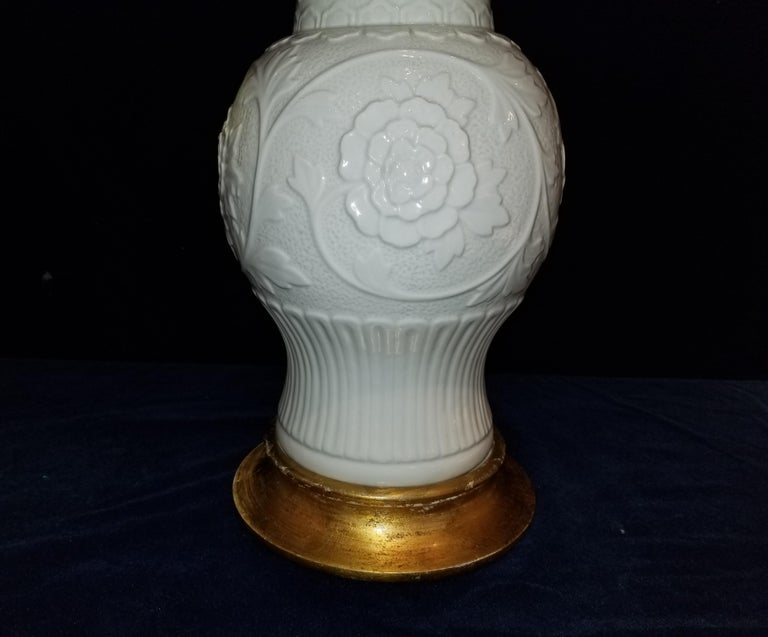 19th Century Pair of Antique Chinese Blanc de Chine Vases mounted as Lamps For Sale
