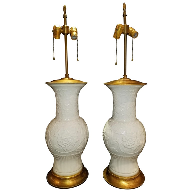 Pair of Antique Chinese Blanc de Chine Vases mounted as Lamps For Sale