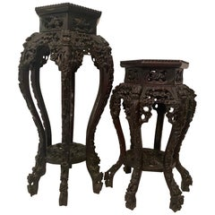 Pair of Antique Chinese Carved Rosewood Flower Stands Marble-Top Insert