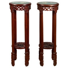 Pair of Antique Chinese Carved Round Stands with Painted Floral and Bird Décor