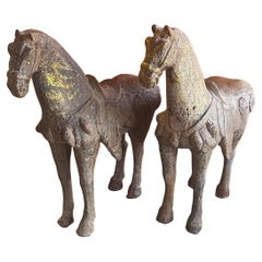 Pair of Antique Chinese Cast Iron T'ang Horse Sculptures