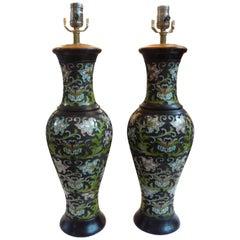 Pair of Antique Chinese Champlevé/Cloisonné Lamps