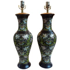 Pair of Antique Chinese Champlevé or Cloisonné Lamps