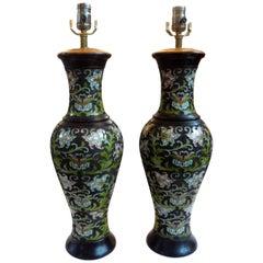 Pair of Antique Chinese Champlevé or Cloisonné Lamps