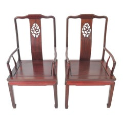 Pair of Antique Chinese Chippendale Rosewood Armchairs, Qing Dynasty, circa 1900