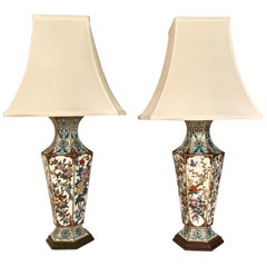 Pair of Antique Chinese Cloisonné Hexagonal Lamps, circa 1910-1920