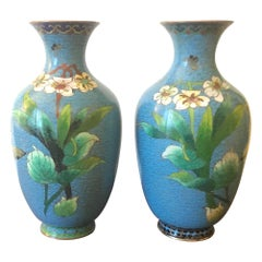 Pair of Antique Chinese Cloisonne Vases, circa 1910