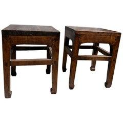 Pair of Antique Chinese Elmwood Stools, 19th Century