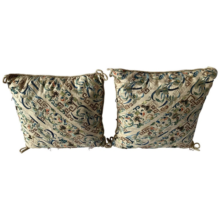 Pair of Antique Chinese Embroidered Silk Textile Pillows For Sale